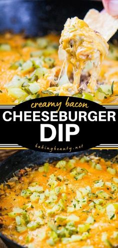 This Bacon Cheeseburger Dip recipe makes a perfect 4th of July party! Packed with so much flavor, this party food will be the first to disappear. You might want to double the batch of this easy appetizer! Quick Appetizers, Recipes Appetizers And Snacks, Easy Appetizer Recipes, Dip Recipes, Easy Recipes, Salad Recipes, Bacon Recipes, Bacon Cheeseburger Dip, Best Bacon
