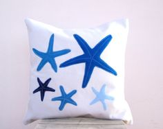 Beach pillow: blue nautical starfish pillow. $46.00, via Etsy.