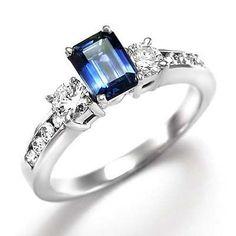 Emerald Cut Sapphire and Diamond Ring 14K W/ Gold