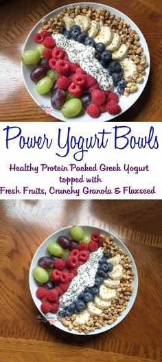 Healthy Power Yogurt Bowls with Fruit, Crunchy Granola and Flaxseed.Whip up a super yummy, super healthy Protein Packed Greek Yogurt bowl with fresh fruits, crunchy granola and flaxseed Protein Smoothies, Healthy Fruit Smoothies, Healthy Protein Snacks, Healthy Yogurt, Healthy Fruits, Yogurt Smoothies, Whey Protein, Healthy Juices, Yogurt Bowl