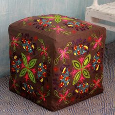 Novica Handcrafted Rayon 'Elephant Blooms' Ottoman Cover