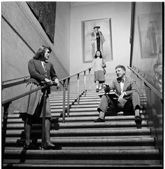 Columbia University [Students talking in a stairway.]