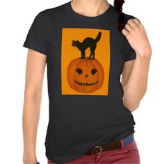 Black Cat Jack O Lantern Pumpkin Orange T Shirts