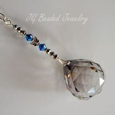 Butterfly Silver Shade Suncatcher with Iris Blue Swarovski Crystals (unique and quality made) #silver #butterfly #suncatcher