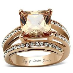 This is a gorgeous 14K Rose Gold 4CT Princess Cut Champagne or Cognac Diamond. I love the cognac and champagne diamonds as they have a touch of yellow or orange