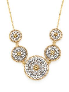 Beaded Disc Bib Necklace Material: 18K gold-plated brass, metallic beads, Miyuki beads, and 14K gold-fill Brand: Miguel Ases