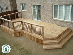 I'd prefer a raised deck, but this is nice if that's not an op… Simple, low deck. I'd prefer a raised deck,. Patio Deck Designs, Patio Design, Back Deck Designs, Railing Design, Porche Frontal, Raised Deck, Front Deck, Deck Plans, House With Porch
