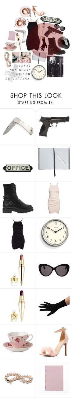 """Undercover-character mood board"" by ciaralucifer ❤ liked on Polyvore featuring Anja, Smith & Wesson, HomArt, Smythson, Martha Stewart, Valentino, Newgate, Christian Louboutin, Christian Dior and Royal Albert"