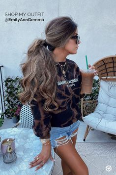 Summer Outfit for Women: Distressed denim short, Saint Laurent tie dye  Sweatshirt, Gold Jewelry, Sunglasses and Messy Ponytail. Emily Gemma, The Sweetest Thing Blog #EmilyGemma #theSweetestThingBlog