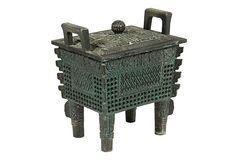Vintage Asian Motif Covered Iron Box on OneKingsLane.com