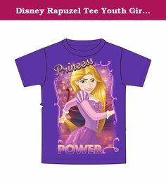 Disney Rapuzel Tee Youth Girls Fashion Top T Shirt Rapunzel Power, Purple (X-small). Youth Girls sized purple t-shirt featuring Princess Rapunzel from Disney's Tangled. Has glitter accents!.