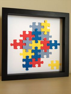 Autism Awareness Puzzle Piece, 3D paper art, that can be personalized. $35.00, via Etsy.