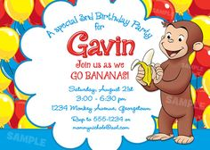 Curious George Invitation for Birthday Party  by PixelParade, $9.99