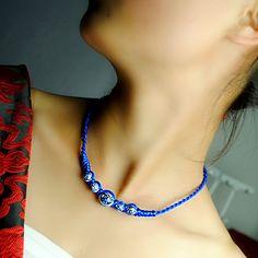 Original design ethnic choker necklace short chain classical blue and white ceramic pendant vajra knot rope Handmade jewelry