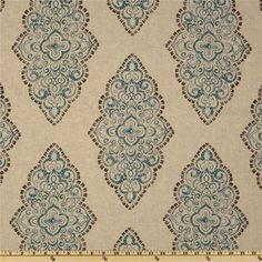 This beautiful blue, brown and oatmeal damask fabric would look great in any home decor. This listing is for two unlined panels. Standard sizes