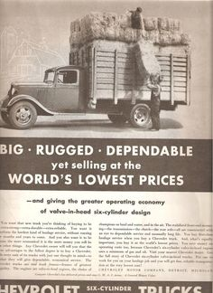 1935 CHEVROLET TRUCK AD Original Vintage Magazine Advertising Farmers Farm Truck Antique Automobile Ready To Frame