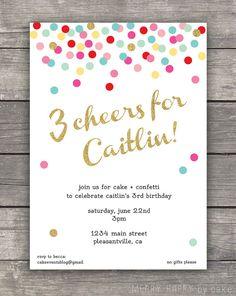 """Confetti Birthday Party Invitation """"3 Cheers"""""""