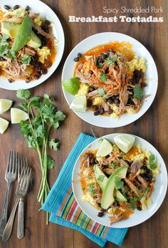 Spicy Shredded Pork Breakfast Tostadas http://boulderlocavore.com/2014/08/spicy-shredded-pork-breakfast-tostadas.html