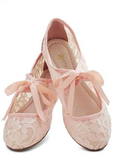 For warm summerevenings when you want to wear a flowing white dress with a light pink cardigan and pearl neclace with pink ribbons to tie the neclace. These shoes are Pink Color Flat Lace Shoes