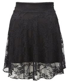 The Home of Fashion New Womens Black Floral Lace Mini Skater Skirt (ML (12-14))