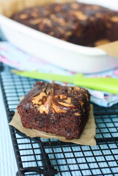 Awesome pb brownies made from a boxed mix and avocado- so easy!
