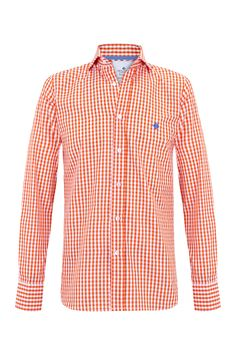 "Orange gingham ""Grant"" shirt w/ logo embroidered in mediterranean blue. 100% cotton Available in Slim Fit & Classic Fit"