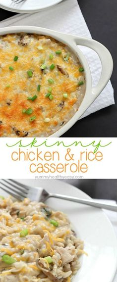Easy Skinny Chicken and Rice Casserole using NO cream soups and made in about 30 minutes! Put this on your dinner menu - you will love this easy meal!