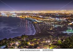 The Pacific Coast of Los Angeles, California as viewed from Rancho Palos Verdes. - stock photo