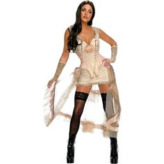 This sexy saloon girl sure does pack a punch.  Show them that your no darling damsel in this scintillating style which includes: An ivory tank dress featuring a faux corseted bodice and organza overlay with blush satin trim. A pair of matching glovelets are also included in this wild western style.