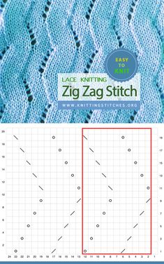Zig Zag Lace stitch Easy To Knit Lace Knitting, Knitting Stitches, Knitting Patterns, Zig Zag, Knitting Projects, Crochet, Easy, Knit Patterns, Breien