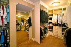 Split-level his and hers walk-in closet