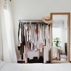 Makeshift closet ideas for my tiny house // Gold mirror + clothing rack - Home Decor Idea Makeshift Closet, Home Bedroom, Bedroom Decor, Bedroom Ideas, Bedroom Storage, Bedroom Small, Wardrobe Small Bedroom, Bedroom Interiors, Store Interiors