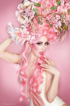 Pink Marie Antoinette butterfly wig fantasy burlesque  baroque