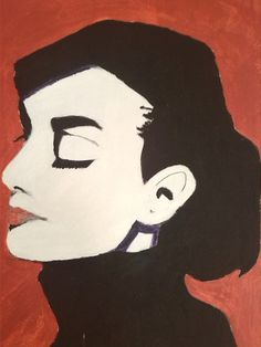 Audrey Hepburn canvas acryl painting red-black-white by Murokancsa