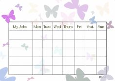 Free Printable Chore Charts Butterfly Chart cakepins.com