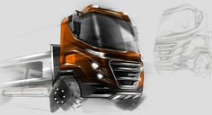 Truck Sketch, Design & Photoshop Retouch