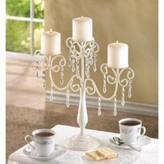 Ivory Candelabra Wedding  Centerpiece Candle Holder #Candelabra. on sale for only $18.64 ~~~~  #wedding, home decor or gift idea.  ~~~~ www.CandelabraCenterpieces.info