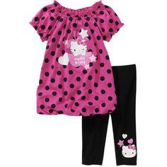 Hello Kitty Baby Girls' 2-Piece Bubble Hem Dot Tunic and Legging Set