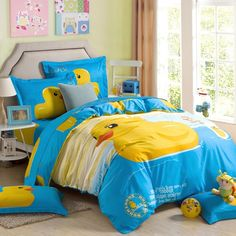 Azure Blue Yellow and White Classic Rubber Duck Print Cartoon Animal Chic and Cute Kids Girls and Boys Twin, Full Size Bedding Sets - EnjoyBedding.com