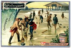 Wintersport (Curling, Scotland) trading card issued by Liebig Extract of Beef Company. Le Cv, Sports Games, Old Postcards, Album, Writing Inspiration, Trading Cards, Card Games, Curls, Beef