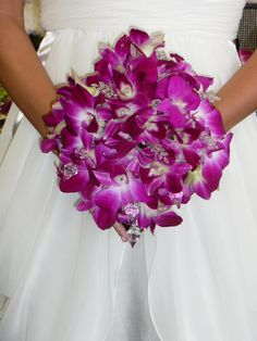 purple orchid bouquet #flowerfusion #wedding #flowers #bridal #bridesmaid #bouquet #purple #orchids #with #accessories