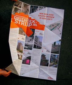 A poster that can be folded back to a triangle to promote a design competition.