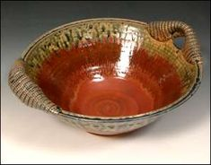 Country Red Bowl With Wrapped Handles