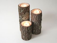Rustic-Chic Candle Holders Made from Tree Branches | 27 DIY Rustic Decor Ideas for the Home | DIY Rustic Home Decorating on a Budget