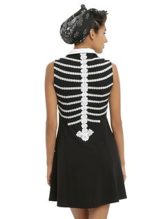 Rib Cage Collar Sleeveless Dress, , alternate