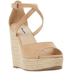 Dune Krystal Wedge Heeled Platform Sandals , Nude ($120) ❤ liked on Polyvore featuring shoes, sandals, nude, platform wedge sandals, nude high heel sandals, leather sandals, strappy sandals and platform sandals