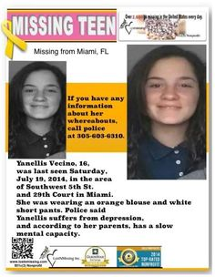 7/19/2014: Yanellis Vecino, 16, is #missing from Miami, Florida. Police said Yanellis suffers from depression, and according to her parents, has a slow mental capacity.