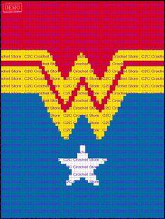 Wonder Woman Suit Graph et Pattern écrit Baby Blanket Crochet, Crochet Baby, Knit Crochet, Crochet Chart, Crochet Stitches, Crochet Squares, Granny Squares, Wonder Woman, Mochila Crochet