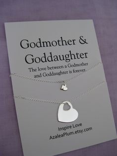 GODMOTHER Necklace // Goddaughter Jewelry // Goddaughter Godmother Gift // Godmother Necklace Sterling Silver // Gift for Godmother // Godchildren All Sterling ---set of 2--- necklace for the love between a Godmother and Goddaughter! Meaningful simple jewelry for the love for Godmother and Goddaughter. This listing is for ----All Sterling Silver Heart Pendant---- necklaces. Simple and beautiful heart pendants on delicate sterling silver chain will last a lifetime. Sterling silver chain ...