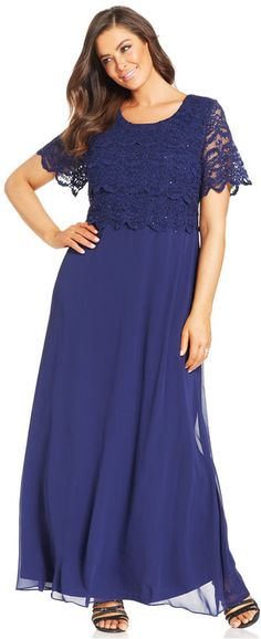 R&M Richards Plus Size Sequin Lace Tiered Bodice Gown